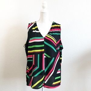 NEW! BAR III black stripe sleeveless blouse